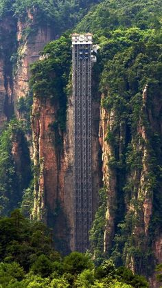 Bailong Elevator in #China the highest outdoor elevator in the world w/ 326 m (1,070 ft) high.