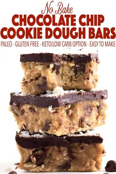 Cookie dough made healthy! These no-bake coconut chocolate chip cookie dough bars are the perfect healthy dessert. They are easy to make and #paleo! This easy paleo recipe is perfect for the holidays or really any time of year. They can also be made low carb for a delicious keto dessert! This is the most delicious gluten free cookie dough you will ever have with the perfect layer of chocolate topping on top. #healthydessert #glutenfree #keto #lowcarb #paleodessert