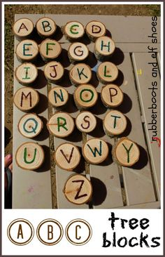 rubberboots and elf shoes: tree block alphabet
