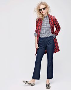 Crew has released looks from their upcoming fall style guide and Im itching to stock up for the season. The new arrivals include a fantastic mix of bold printed silks (below) and subtle l J Crew Style, Style Me, Fall Winter Outfits, Autumn Winter Fashion, Style Guides, What To Wear, Jeans, Fashion Outfits, Female Outfits