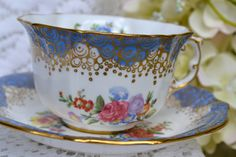 Vintage Hammersley Fine Bone China Tea Cup and Saucer, Blue