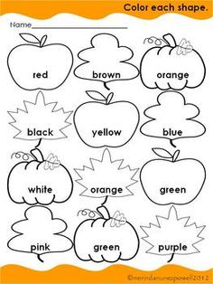 FREE Fall Color Word Sheet-morning work - change English to French colors. Preschool Colors, Fall Preschool, Preschool Learning, Educational Activities, Classroom Activities, Preschool Activities, Teaching, Color Activities, Autumn Activities
