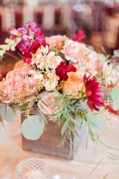 Rustic Blush and Red Centerpiece | Sara Lynn Photographic