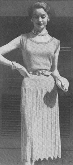 Vintage 1950s Eyelet Evening Dress Knitting Pattern