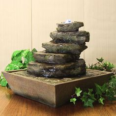 Indoor Tabletop Water Fountain Cascading Rocks Water Fountain w/LED Lights  #SunnydazeDecor