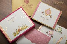 We design premium customized wedding invitation cards for your dream wedding. Make a choice from unique styles of wedding invites. Have a distinctive wedding invite that is made-to-order in keeping with your style. Indian Wedding Invitation Cards, Bespoke Wedding Invitations, Personalised Wedding Invitations, Custom Invitations, Personalized Wedding, Wedding Stationery, Invites Wedding, Custom Stationery, Wedding Card Design Indian