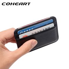 66ada66d7 Super Slim Soft Wallet 100% Sheepskin genuine leather mini credit card  wallet purse card holders · Carteira Masculina ...