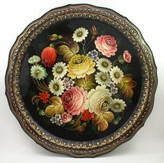 Gorgeous Zhostovo Russian Handpainted Tole Tray