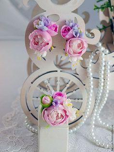 """Conjunto de joyas """"Fellini"""", porcelana fría, peonías establecidos, peonías joyas, pendientes peonías, flores de arcilla, las damas de honor de la joyería, las damas de honor establecidos"""