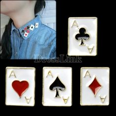 $0.93Lucky Rectangle Poker Pattern Decorative Pin Broche Flower Collar Brooches Breastpin Necktie
