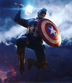 Captain America wields Mjolnir Captain America with Mjolnir in Avengers: Endgame Marvel Captain America, Ms Marvel, Marvel Dc Comics, Marvel Heroes, The Avengers, Marvel Avengers Assemble, Funny Avengers, Marvel Characters, Marvel Movies