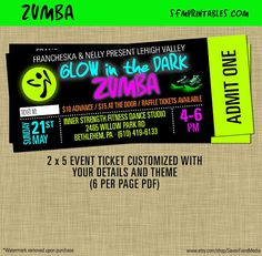 Image Result For Zumba Party Invitation Invite Dance Party