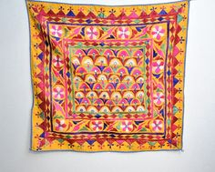 vintage Indian embroidered wall hanging $45