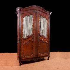 French Antique Louis XV Armoire in Walnut with Glass Panels