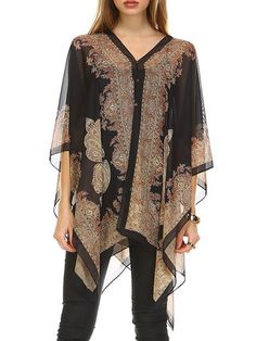 Black Abstract Batwing Printed Kimono