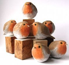 Easy Woodworking Crafts Happy 2015 readers and viewers! A new plumped up winter version of my Robin is now available in MY SHOP.Easy Woodworking Crafts Happy 2015 readers and viewers! A new plumped up winter version of my Robin is now available in MY SHOP Clay Birds, Ceramic Birds, Ceramic Animals, Carved Wooden Birds, Wooden Hand, Ceramic Art, Hand Carved, Bird Sculpture, Animal Sculptures