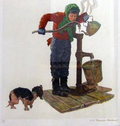 Boy With Water Bucket AP by Norman Rockwell, Limited Edition Print, Lithograph