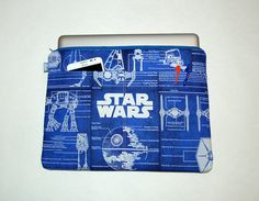 MacBook Pro 13 / iPad / Microsoft Surface Padded Sleeve Cover - Handcrafted from STAR WARS Blue Print Fabric