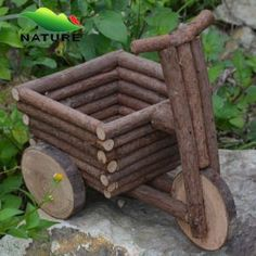 Garden decorative wooden craft car shaped flower pot on made in china com flower bed ideas to make your garden gorgeous Twig Crafts, Wooden Crafts, Flower Crafts, Garden Projects, Wood Projects, Twig Furniture, Wooden Bird Houses, Wooden Shapes, Garden Art