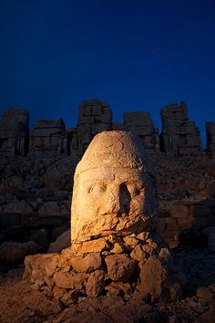Megalithic head from the Commagene culture, 1st century B.C., Mt. Nemrut, Turkey