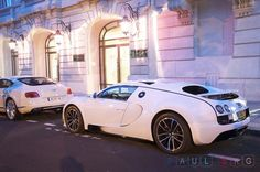 Bugatti Veyron Super Sport and a white Bentley Continental GT