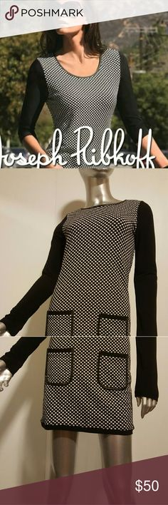 "Stunning JOSEPH RIBKOFF Black Polka Dot Dress Sz 2 Gorgeous Black and white Dress  Great condition   Wonderful look and feel   Detailed with leather trim around the neckline and pockets  Back button closure with large keyhole   Mesh long sleeves   Your wardrobe will thank you for this beauty!   Fabrication-missing label  Color -black and white  Measurements- Chest =15.5"" Lenght =32""  Feel free to contact me with any questions or concerns prior to purchase   Thank you for looking in my closet…"