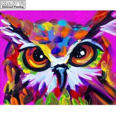 Abstract Owl Art love it Arte Pop, Colorful Paintings, Animal Paintings, Paintings Of Owls, Canvas Painting Tutorials, Abstract Animals, Guache, Painting & Drawing, Painting Abstract