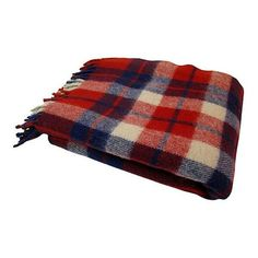 Red, Cream Blue Plaid Throw ❤ liked on Polyvore featuring home, bed & bath, bedding, blankets, blue blanket, red plaid throw, red plaid blanket, wool throw and red throw