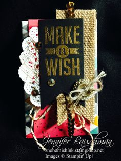 Gift card holder with slide made from toilet paper roll by Jennifer Baughman. Stampin' Up! Perfect Pennants, gold sequins, Gorgeous Grunge, DSP Kaleidoscope
