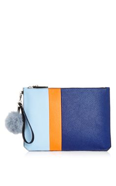 M'o Exclusive Medium Eva Stripe Pouch In Light Grey, Orange, And Navy With Grey Pom Pom by ETIENNE AIGNER Now Available on Moda Operandi