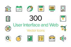 300 User Interface and Web Icons by Creative Stall on @creativemarket