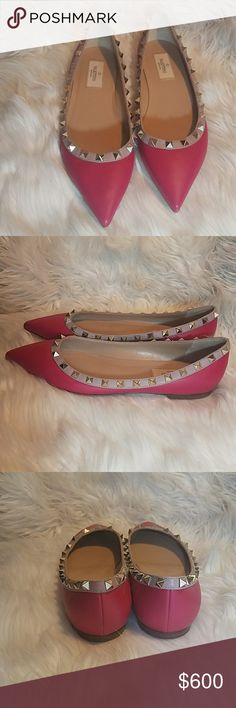 "Valentino ""Rockstud"" 2017 Pink Flats Authentic  Valentino Garavani Size 7.5 Originally  $795 Great condition *CA0500 Valentino Garavani Shoes Flats & Loafers"