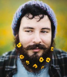 Flower beard and mustache Moustaches, Hipsters, Indian Beard Style, Mode Bizarre, New Trends, Latest Trends, Animation Photo, Beard Trend, Glitter Beards