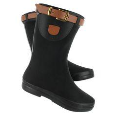 Dav Women's WESTON MID black/brown buckle rain boots WESTON MID BLK