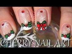 Tuto nail art de noel - comment faire du houx et des flocons de neige Cute Nails, My Nails, Cherry Nail Art, Nail Art Noel, Merry Christmas, Christmas Ornaments, Perfect Nails, Manicure, Nail Polish