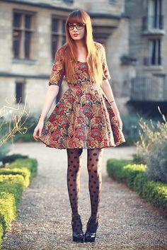 Miss Pandora in polka dot tights :)