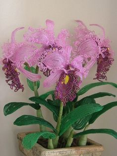 Cattleya Orchid French Beaded Flower