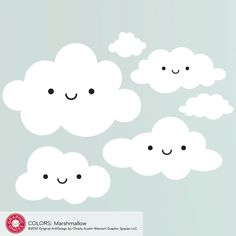 Happy Cloud Removable Wall Decal Stickers Baby Kids. $40.00, via Etsy.
