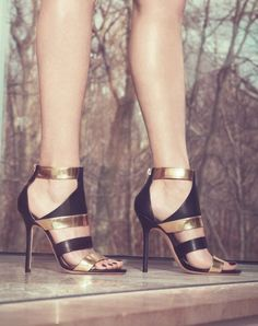 Jimmy Choo. Metallic and leather with a hint of gladiator....yes please!! Super sexy shoes perfect for summer!