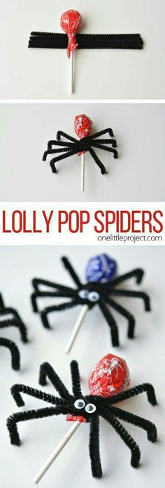 How to make Lolly Pop Spiders These lolly pop spiders are SO SIMPLE and look adorably creepy! Theyd make great party favours or a fantastic treat to send to school on Halloween! The post How to make Lolly Pop Spiders appeared first on Halloween Treats. Halloween Snacks, Theme Halloween, Holidays Halloween, Happy Halloween, Creepy Halloween, Halloween School Treats, Halloween Party Favors, Halloween Birthday Parties, Diy Party