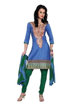 Fabdeal Indian Designer Polyster Cotton Blue Embroidered Salwar for only $22.00 You save: $13.00 (37%)