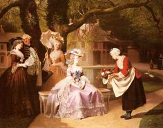 Joseph Caraud, Marie Antoinette and Louis XVI with Madame de Lamballe at the Hameau, with her house in the background.