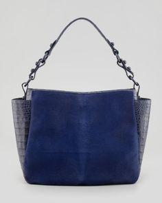 Nancy Gonzalez Crocodile & Calf Hair Double-Pocket Tote Bag, Navy - Neiman Marcus
