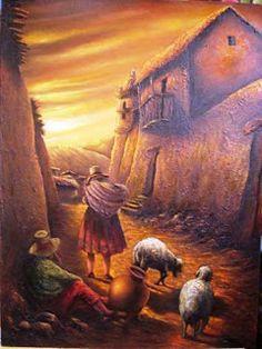 cuadros-campesinos-peruanos Peruvian Art, Southwestern Art, Mexican Artists, Building Art, Native American Art, Landscape Art, Cartoon Art, Lovers Art, Architecture Art