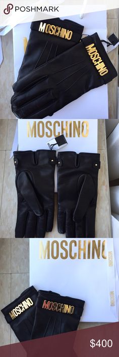 Authentic black Moschino leather gloves! 100% real leather! Never used black Moschino gloves in men's size 8.5. Gold enamel logo with lined interior. Are still attached together, comes with bag and Moschino wrapping ribbon. Moschino Accessories Gloves & Mittens