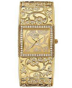 GUESS Watch, Women's Crystal Filigree Gold-Tone Bangle Bracelet 23x27mm U0256L2 - Women's Watches - Jewelry & Watches - Macy's