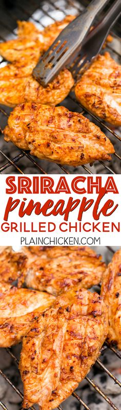 Sriracha Pineapple Grilled Chicken Recipe - chicken marinated in bbq sauce, mustard, Sriracha, honey and pineapple juice. Sweet, smokey and a tad bit spicy. SO good! Tons of great flavor and super juicy. We doubled the recipe for leftovers.
