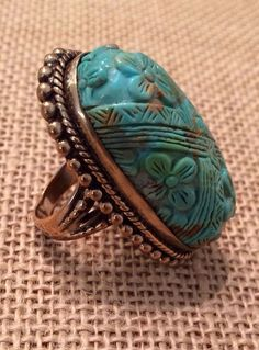 STEPHEN DWECK BRONZE CARVED TURQUOISE FLORAL RING- SIZE 7 #StephenDweck #Ring