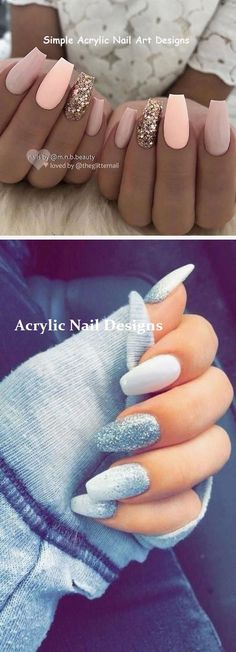 There are three kinds of fake nails which all come from the family of plastics. Acrylic nails are a liquid and powder mix. They are mixed in front of you and then they are brushed onto your nails and shaped. These nails are air dried. Crazy Acrylic Nails, Simple Acrylic Nails, Almond Acrylic Nails, Summer Acrylic Nails, Summer Nails, Spring Nails, Crazy Nails, Simple Nails, Stylish Nails
