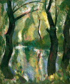 John Duncan Fergusson (Scottish, 1874–1961) - Dark trees by the Kelvin, 1944